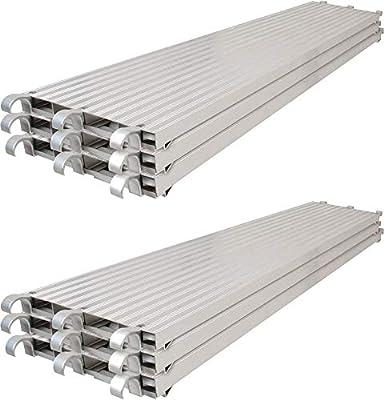 Metaltech Saferstack 7ft. x 19in. All-Aluminum Scaffolding Platform Deck Plank - 6-Pack, Model Number M-MPA719