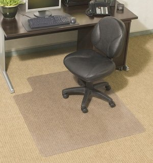 """Chair Mats for Carpeted Floors: 48"""" x 96"""" Rectangle - Standard Thickness 1/7"""" - Clear"""