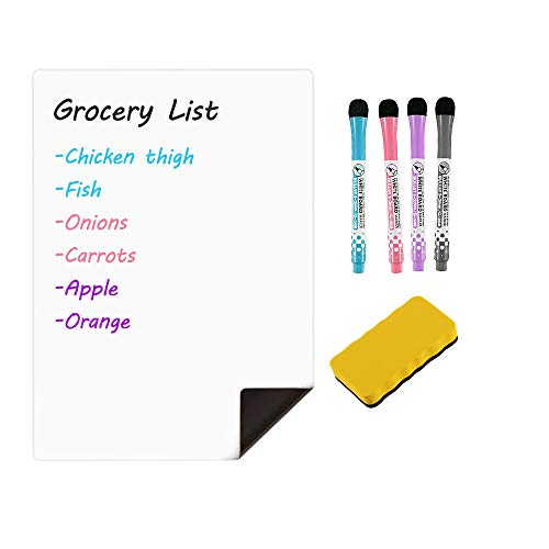 Magnetic Dry Erase White Board Sheet for Fridge, 12x8 Inches Refrigerator Magnetic Whiteboard Notepad with Stain Resistant Technology, Includes 4 Markers, Magnetic Eraser for Fridge Grocery List
