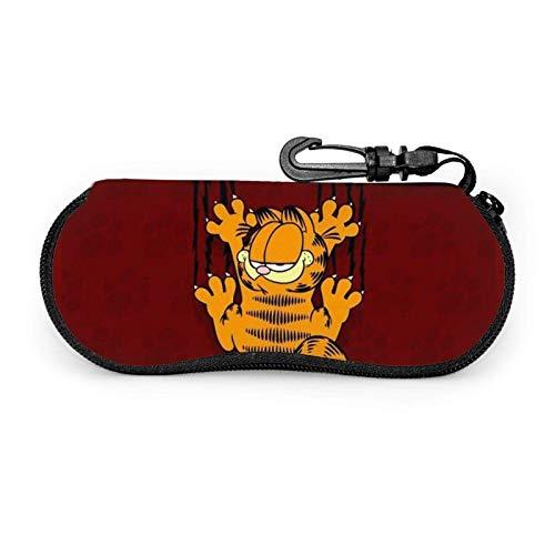 Garfield Cartoon Cat Brillenetui Männer Frauen mit Karabiner Teens Jungen Mädchen Brillentaschen Mode Sonnenbrille Softcase Ultraleichter Neopren-Reißverschluss