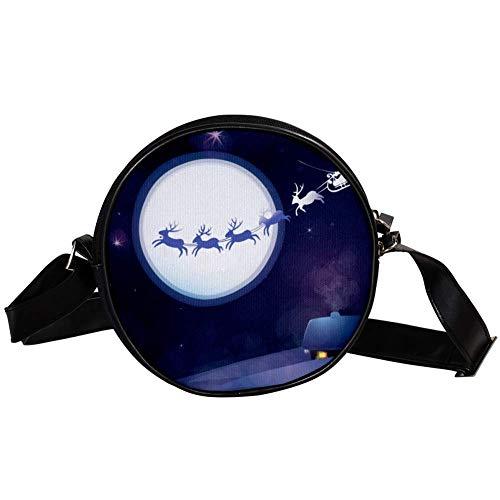 Bennigiry Handtasche mit Weihnachtsmann und Schlitten, rund, für Mädchen und Frauen