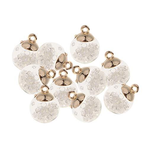 10 Stück Crystal Glass Ball Charms Anhänger Schmuckanhänger für Armband Halskette Ohrringe Schmuck Deko - Weiß