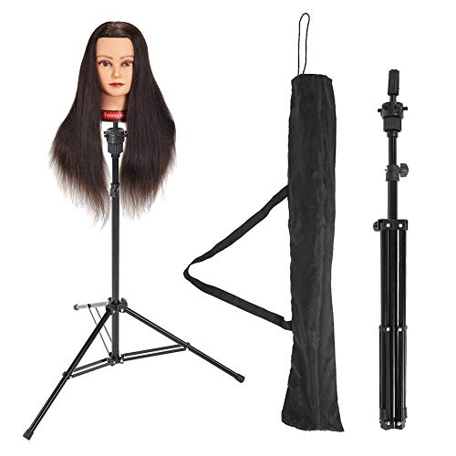 Soporte del soporte de la cabeza de la peluca, soporte giratorio del trípode de la cabeza del maniquí del acero inoxidable, soporte de peluquería ajustable del maniquí