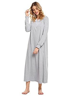 Declare Women Casual V Neck Lace Patchwork Solid Loose Retro Cotton Full Nightgown S-XXL