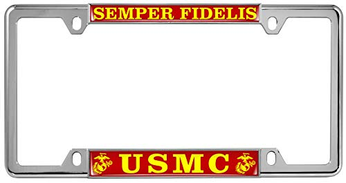 USMC Semper Fidelis (Red & Yellow Text) - Domed Custom-Made Personalized Narrow (Thin) Top 4 Hole Metal Car License Plate Frame with Free caps - Chrome
