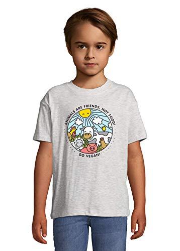 Animals are Friends Not Food Vegan Vegetarian Ash Colorful Kids T-Shirt 84-94cm (2year)