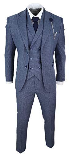 Herrenanzug 3 Teilig Cavani Blau Tailored Fit Marineblau Doppelt Breasted Weste - blau 48EU/38UK Sakko- 32
