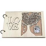 TOSSPER En Forma De Corazón 1pc Boda Libro De Visitas Boda De Madera Libro Boda del Árbol del Libro De Invitados Personalizada