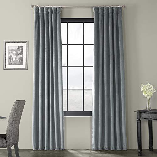 HPD Half Price Drapes VPCH-184005-84 Signature Blackout Velvet Curtain (1 Panel), 50 X 84, Natural Grey