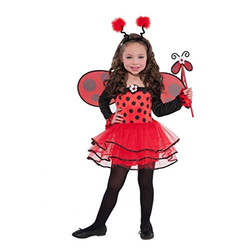 Joker 997655/56-S - Coccinella Ballerina Costume di Carnevale in Busta, Bambina, Rossa e Nera