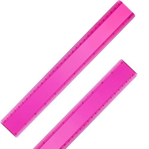 2 Pack Plastic Ruler Straight Ruler Plastic Measuring Tool for Student School Office (Rose Red, 12 Inch)