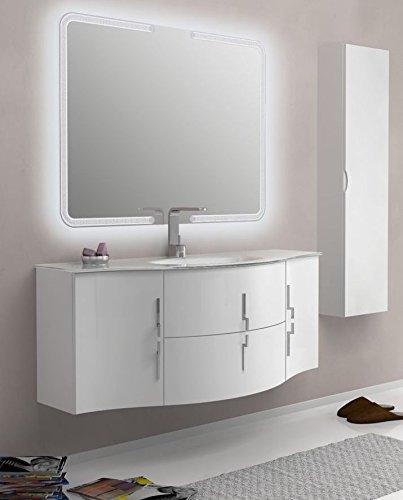 Bagno Italia Mobile Bagno Sting 138 cm arredo sospeso Bianco Rosso Nero Grigio con Ante e cassetti lavabo in Cristallo mobili I
