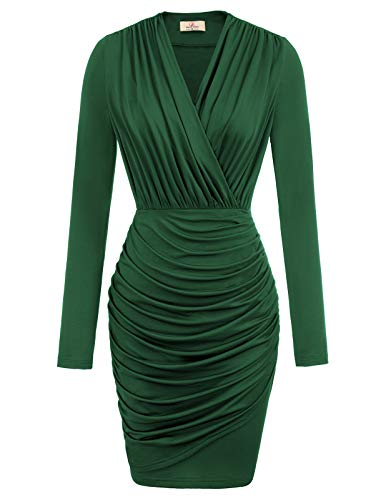 GRACE KARIN Women's Deep V-Neck Long Sleeve Ruched Bodycon Cocktail Party Dress Dark Green M