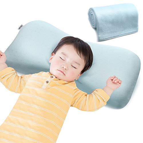 NEXSIABABYベビー枕赤ちゃんまくら絶壁防止向き癖改善低反発綿100%通気性【替えカバー付き】(ブルー)