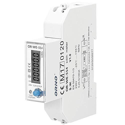 Orno LCD digitaler Wechselstromzähler 1-Phasen-Stromzähler mit RS485 Port und MID Zertifikat, 100A Energieverbrauch