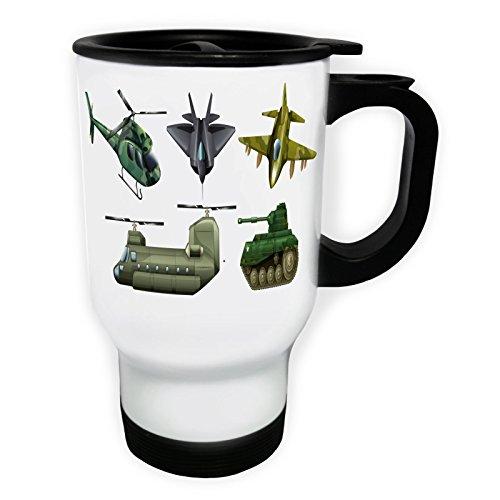 INNOGLEN War Planes Tank hélicoptère Pilote Nouveau Tasse de Voyage Thermique Blanche 14oz 400ml c573tw