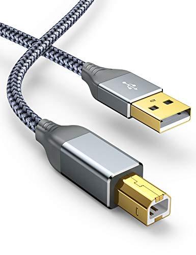 Snowkids Cavo Stampante USB 2.0, Cavo USB Maschio A Maschio B Alta velocità Nylon per Stampante HP, Canon, Lexmark, dell, Epson, Xerox, Samsung, Panasonic, Scanner, Lexmark ECC.