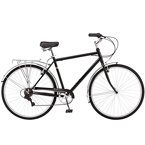 Schwinn Wayfarer Adult Bike Hybrid Retro-Styled Crusier, 18-Inch/Medium Steel Step-Over Frame, 7-Speed Drivetrain, Rear Rack, 700C Wheels, Black