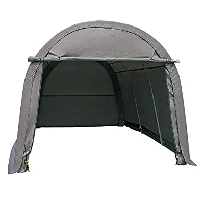 walnest 10x15x8 ft Heavy Duty Carport Car Canopy Garage Shed Patio Storage Shelter Outdoor Grey, Round Top Style Portable