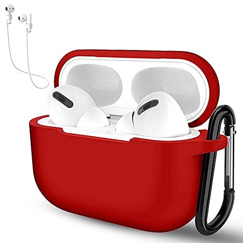 Yoowei Funda Compatible con Apple AirPods 4 Wireless Earphones, 3in1 Protectora de Silicona Funda + Cable de Auriculares + Gancho de Msetal, Rojo