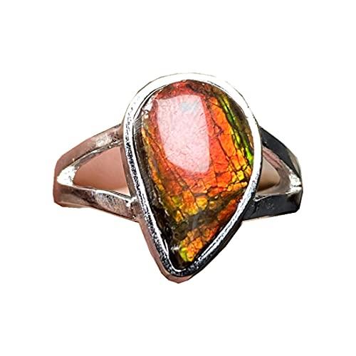 Anillo de piedra de cristal de amolita, natural rojo amarillo amonita, joyería de cristal de amolita para mujeres y hombres, cuentas de plata de 14 x 9 mm, anillo ajustable AAAAA