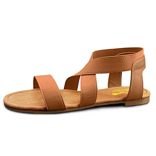 Sandals For Women │ Cute Comfortable Flat Sandals With Elastic Strap│Durable Slip On Womens Sandals Clearance│Ladies Boho Cushion Shoes For Summer Fashion Casual (Ankle Brown, Size 7)