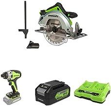 Greenworks Tools 1500907 Sierra Circular, 24 V + Destornillador inalámbrico y de taladro GD24ID + Batería G24B4 2ª generación + Batería de doble ranura Cargador universal G24X2C