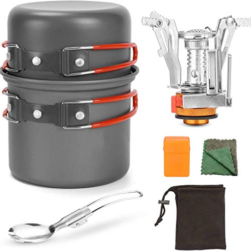 Camping Cookware Set, with Stove and Pan for 1-2 People - Portable Campfire Stainless Steel Cook Gear Traveling Cooking Equipment Utensils Outdoor Cooking Kit for Trekking Hiking Picnic