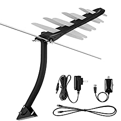 TV Antenna, 1byone Amplified Outdoor Digital HDTV Antenna 85 Miles Range with VHF/UHF Signal, Built-in High Gain and Low Noise Amplifier, Mounting Pole