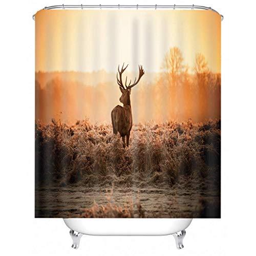 IJNOKM 3d Wild Animal Deer Shower Curtain,anti-mildew Water-repellent Strip Bathroom Curtains,machine Washable Bath Curtain With Hooks(W) 180×(H) 180CM