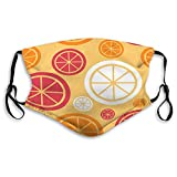 NoneBrand Mouth Shield Reusable Unisex Adjustable Lemon Fruit Abstract Seamless Pattern Background Face Covers