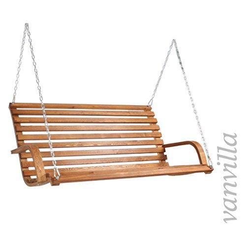 vanvilla Hollywoodschaukel Gomera Gartenschaukel aus Lärche TEAKFARBEN Holzschaukel Lärchenholz - 2