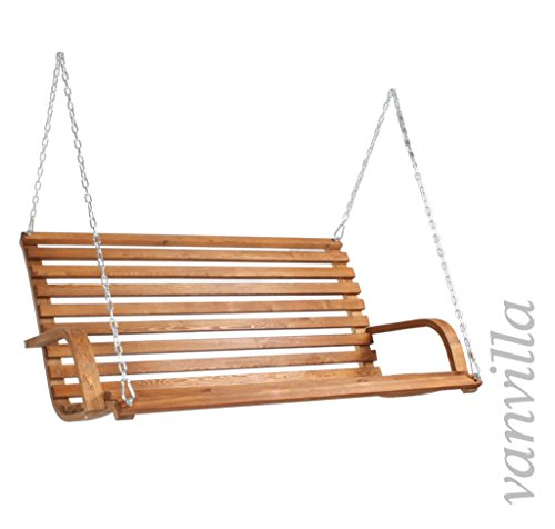Hollywoodschaukel GOMERA Gartenschaukel aus Lärche TEAKFARBEN Holzschaukel Lärchenholz - 2