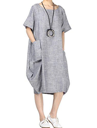 Mallimoda Damen Leinenkleider Sommerkleid Kurzarm Große Größen Leinen Tunika Kleid mit Taschen Blau Grau XXL