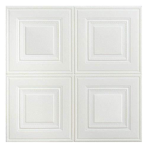 BonChoice 10Pcs 70×70cm 3D DIY Tile Brick Wall Stickers Self-Adhesive Wallpaper Decals PE Foam for Living Room Bedroom Children's Room Boy/Girl (White #2)