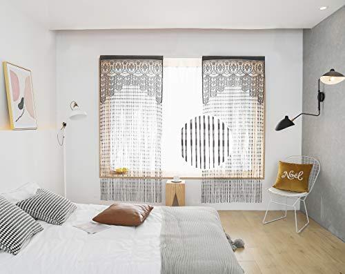 HSYLYM - Cortinas de encaje ligeras y suaves con textura fina y delicadas de gasa para sala de estar, color gris, 90 x 200 cm