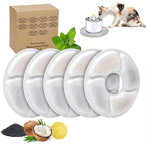 5Pcs Cat Water Fountain Replacement Filter, Pet Water Fountain Filter, Dog Fountain Activated Carbon Filter for Keeping Water Fresh Compatible with Cats and Dogs for 2.5L/3L Automatic Pet Fountain