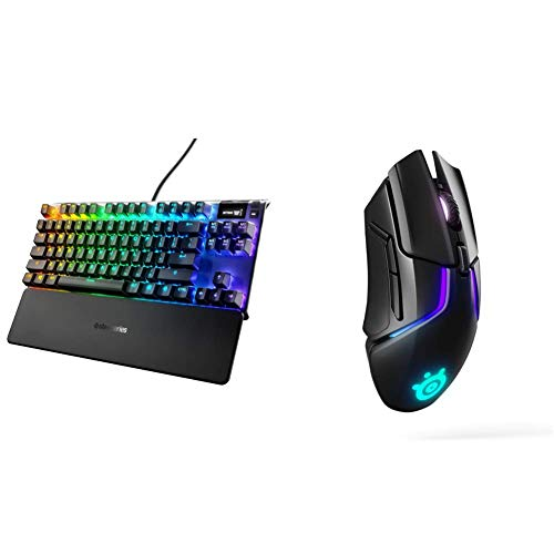SteelSeries Apex Pro TKL Mechanical Gaming Keyboard & Rival 650 Quantum Wireless Gaming Mouse - Rapid Charging Battery - 12, 000 Cpi Truemove3+ Dual Optical Sensor - Low 0.5 Lift-Off Distance