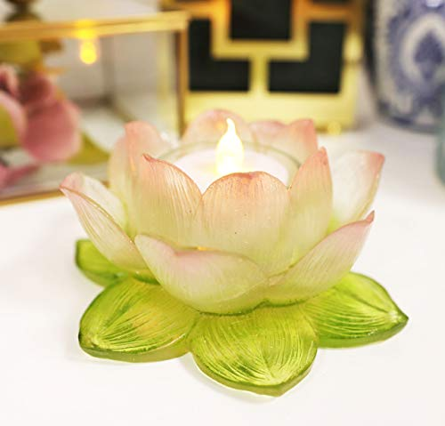 Ebros Blossoming Lotus Flower Tea Light Candle Holder Statue 4.5' Wide Feng Shui Zen Buddha Yoga Padma Altar Decoration Figurine Meditation Lotus Votive Holder (Translucent Acrylic)
