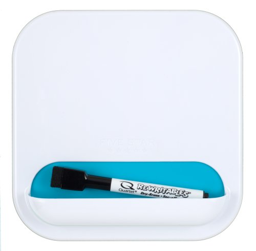 """Five Star Locker Accessories, Combo Dry Erase Board and Storage Pocket, 7"""" x 7"""", White with Teal Pocket (72612)"""