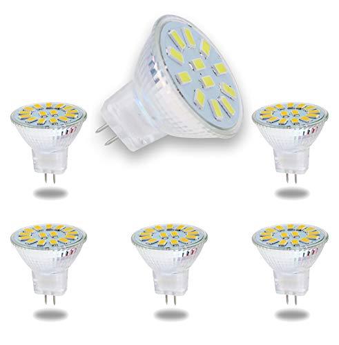 ALASON MR11 5W GU4 LED-Lampen ersetzen 50W Halogenäquivalent, 12V Niederspannungs-MR11-Lampenscheinwerfer für Außenlandschafts-Hochwasserspur-Einbauleuchten, Nicht dimmbar, 500 lm, 6er Pack,6000k