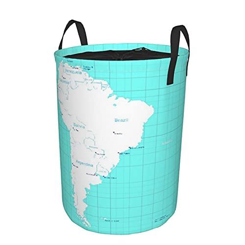 """Cesta de almacenamiento, mapa isométrico de Colombia de América del Sur Paraguay Quito, cesto de lavandería grande plegable con asas 19""""x14"""""""