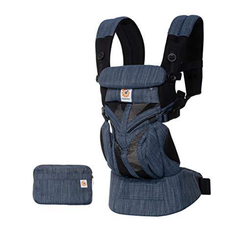 ERGObaby - BCS360PINDIGO - Porte-bébé pour nouveau-né de la naissance jusqu'à 20 kg, 4 en 1 Omni 360 Cool Air Mesh Blue Indigo Weave