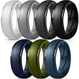 ThunderFit Silicone Wedding Rings for Men - (Light Grey, Dark Grey, Navy Blue, Grey, Olive Green, Dark Blue, Black, 10.5-11 (20.6mm))