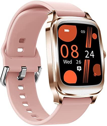 Reloj inteligente de tacto completo Ritmo cardíaco sueño salud Tracker brújula Dial Personalización Mensaje Recordatorio de llamada Recordatorio de llamadas Relojes deportivos-rosa