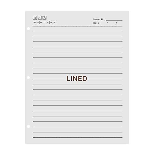 VEESUN A4 3 Löcher Refill Liniert Papier, 3-Ring Binder 70 Blatt / 140 Seiten für A4 Nachfüllbar Tagebuch Notizbuch Skizzenbuch Journal Einsätze, MEHRWEG