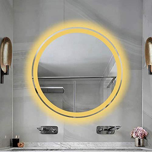 Wall-Mounted Mirrors Specchio da Bagno Senza Cornice da Parete LED Intelligente Rotondo, Luce Bianca/Luce Calda, Sensore Tattile + Disappannatore, 3 Dimensioni