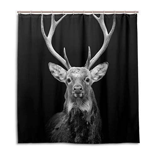 MyDaily Duschvorhang Hirsch 167,6 x 182,9 cm, schimmelresistent und wasserdicht Polyester Dekoration Badezimmer Vorhang