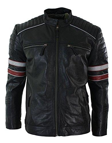 Chaqueta de Cuero Negro Estilo Racing Biker con líneas en Rojo y Blanco Ajuste Regular Negro
