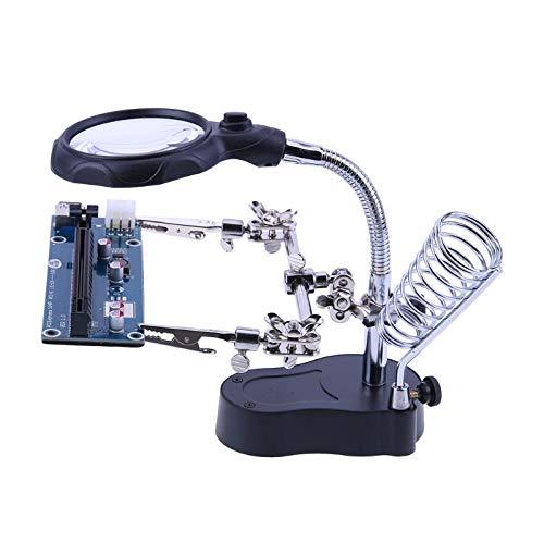 KONGZIR 3,5X-12X de Aumento de Escritorio de la lámpara de LED de Aumento de Soldadura Auxiliar Herramienta de reparación de Pinza de Soldadura Lupa Tercera Parte